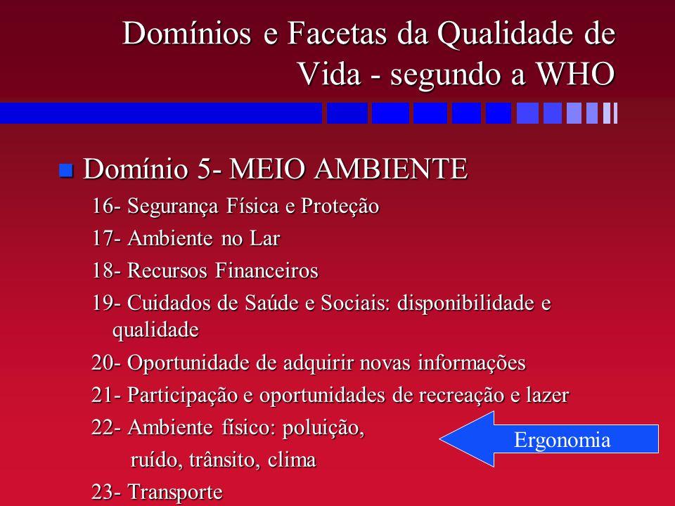 Domínios e Facetas da Qualidade de Vida - segundo a WHO n Domínio 5- MEIO AMBIENTE 16- Segurança Física e Proteção 17- Ambiente no Lar 18- Recursos Fi