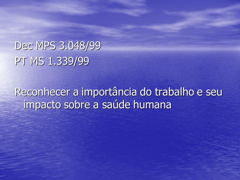 Dec MPS 3.048/99 PT MS 1.339/99 Reconhecer a importância do trabalho e seu impacto sobre a saúde humana