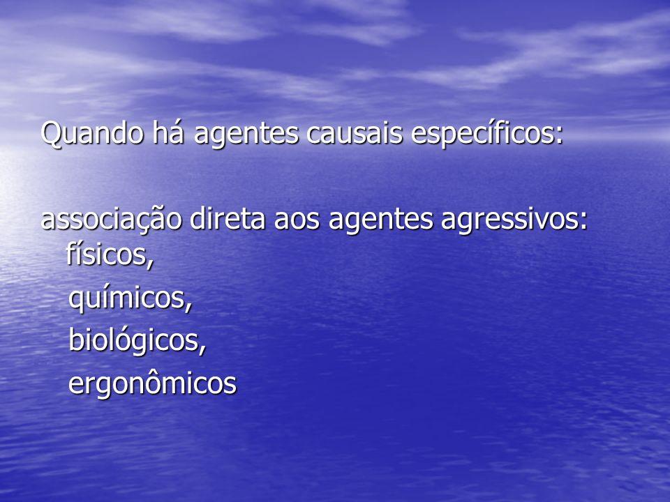 Quando há agentes causais específicos: associação direta aos agentes agressivos: físicos, químicos, químicos, biológicos, biológicos, ergonômicos ergonômicos