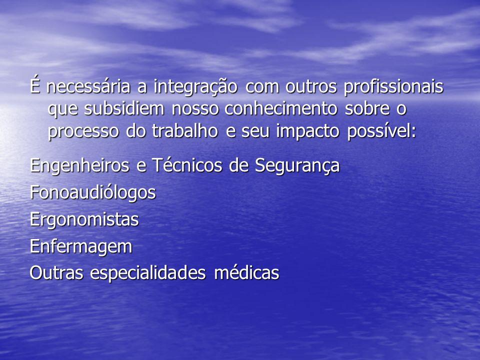 É necessária a integração com outros profissionais que subsidiem nosso conhecimento sobre o processo do trabalho e seu impacto possível: Engenheiros e Técnicos de Segurança FonoaudiólogosErgonomistasEnfermagem Outras especialidades médicas