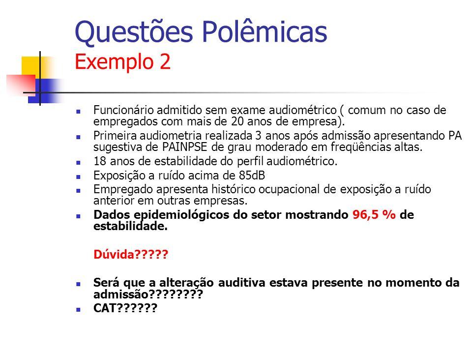 Questões Polêmicas Exemplo 2 Funcionário admitido sem exame audiométrico ( comum no caso de empregados com mais de 20 anos de empresa). Primeira audio