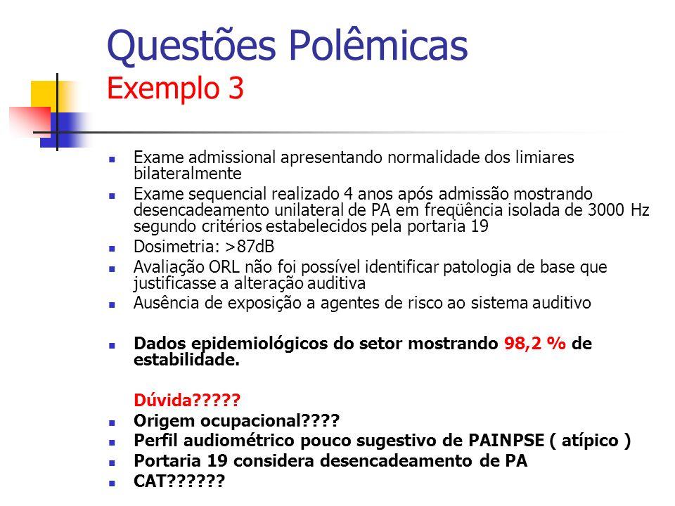 Questões Polêmicas Exemplo 3 Exame admissional apresentando normalidade dos limiares bilateralmente Exame sequencial realizado 4 anos após admissão mo