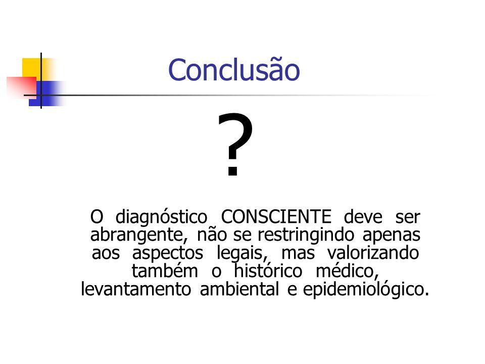 Conclusão ? O diagnóstico CONSCIENTE deve ser abrangente, não se restringindo apenas aos aspectos legais, mas valorizando também o histórico médico, l