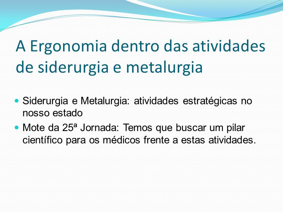 A Ergonomia dentro das atividades de siderurgia e metalurgia Siderurgia e Metalurgia: atividades estratégicas no nosso estado Mote da 25ª Jornada: Tem