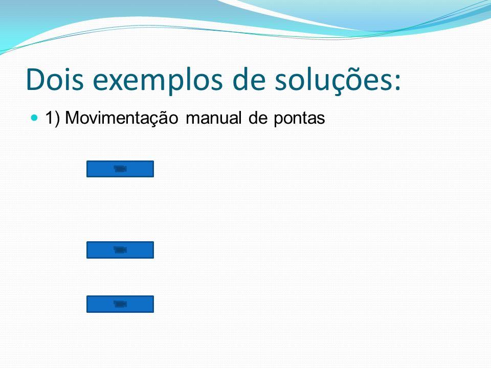 Dois exemplos de soluções: 1) Movimentação manual de pontas