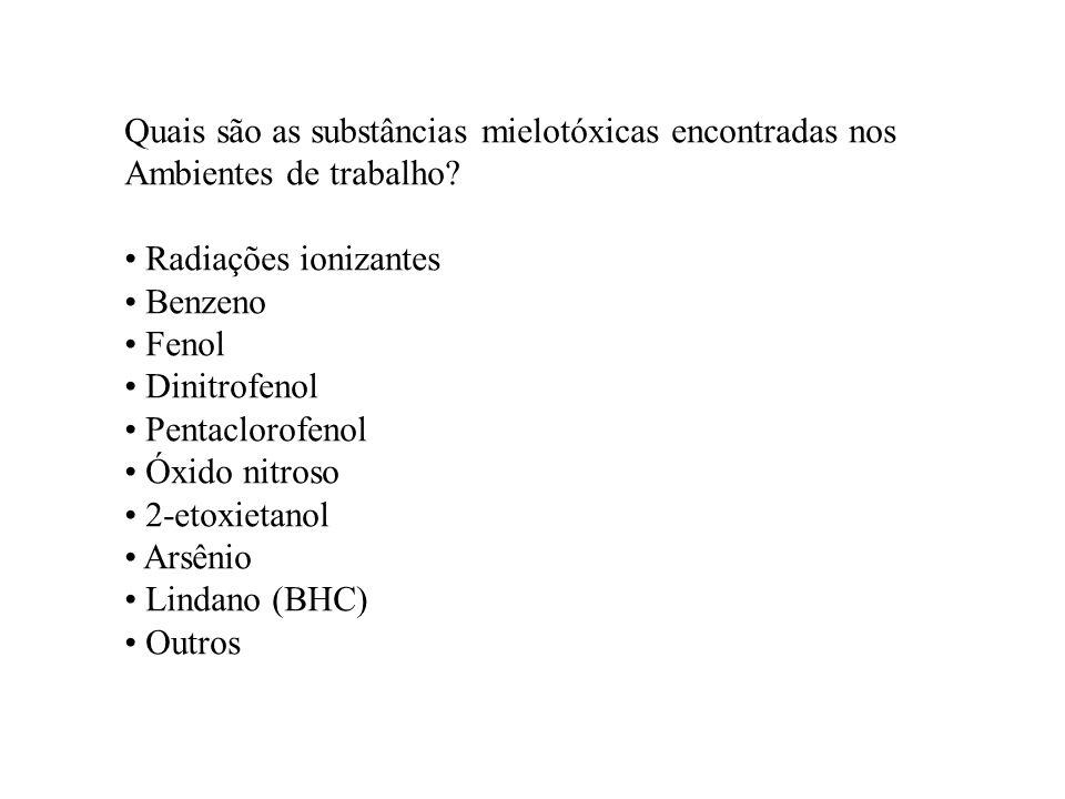 Quais são as substâncias mielotóxicas encontradas nos Ambientes de trabalho? Radiações ionizantes Benzeno Fenol Dinitrofenol Pentaclorofenol Óxido nit