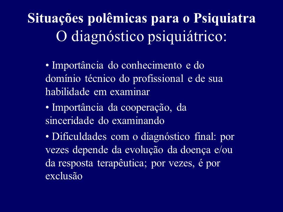 Situações polêmicas para o Psiquiatra O diagnóstico psiquiátrico: Importância do conhecimento e do domínio técnico do profissional e de sua habilidade