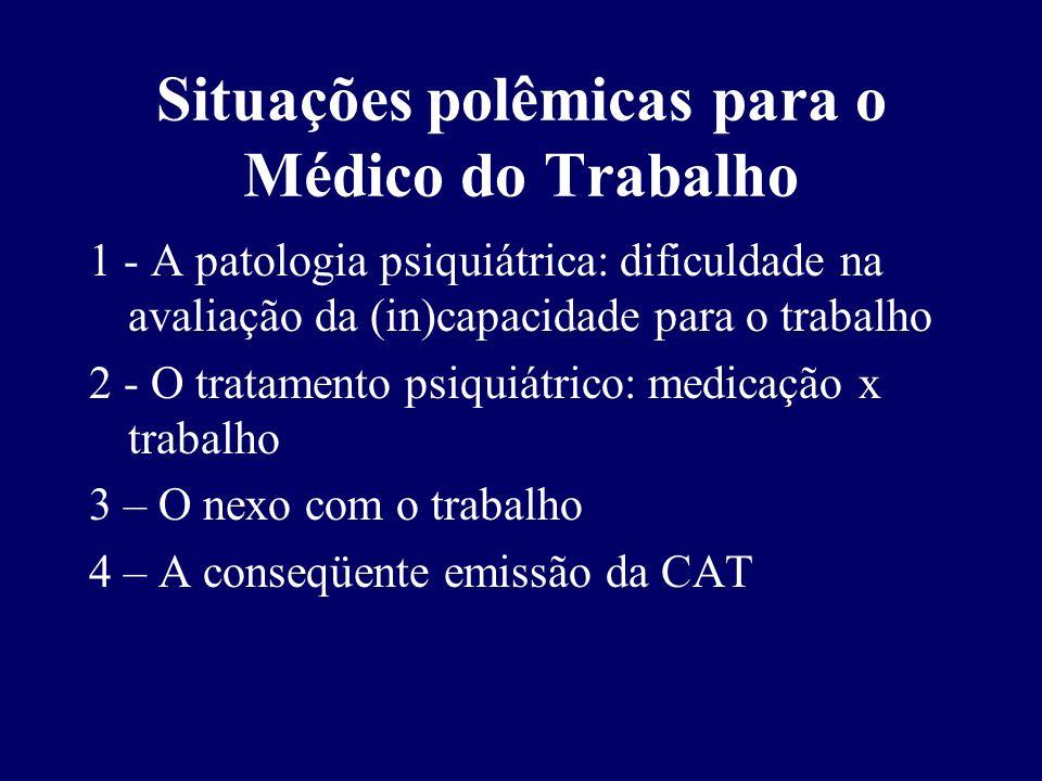 Situações polêmicas para o Médico do Trabalho 1 - A patologia psiquiátrica: dificuldade na avaliação da (in)capacidade para o trabalho 2 - O tratament