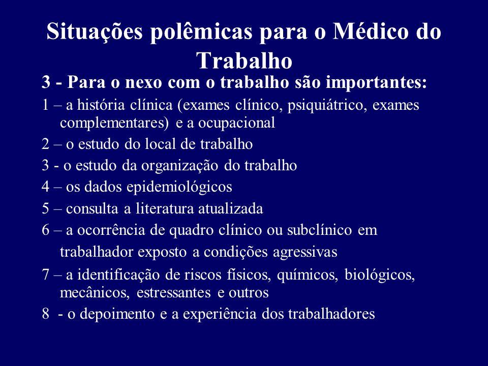 Situações polêmicas para o Médico do Trabalho 3 - Para o nexo com o trabalho são importantes: 1 – a história clínica (exames clínico, psiquiátrico, ex