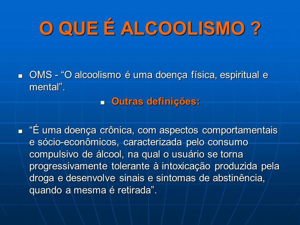O QUE É ALCOOLISMO ? OMS - O alcoolismo é uma doença física, espiritual e mental. OMS - O alcoolismo é uma doença física, espiritual e mental. Outras