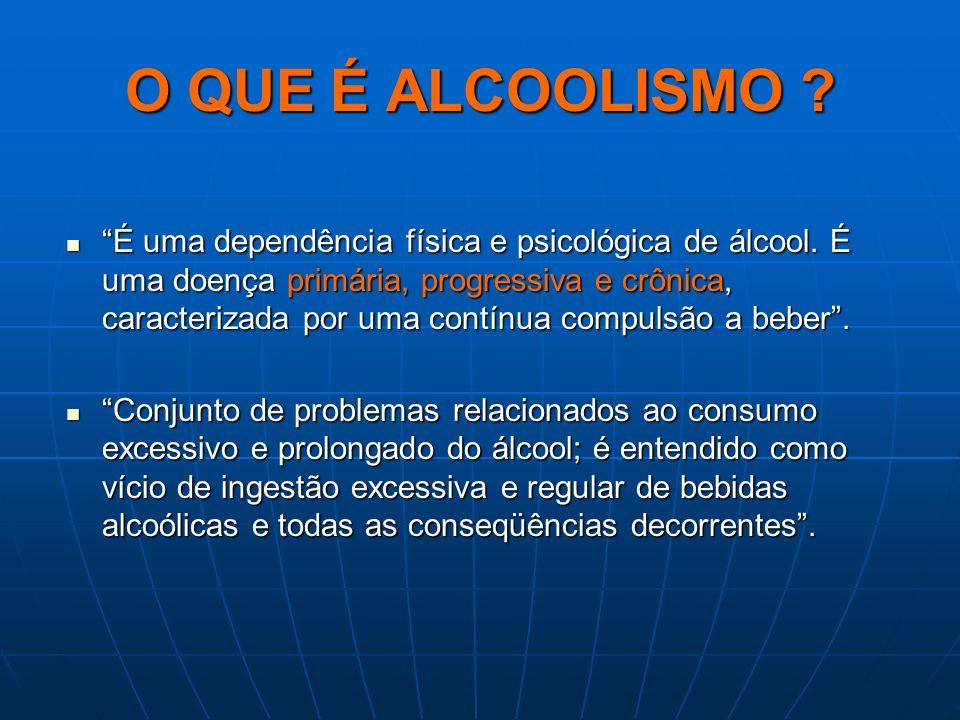 O QUE É ALCOOLISMO ? É uma dependência física e psicológica de álcool. É uma doença primária, progressiva e crônica, caracterizada por uma contínua co