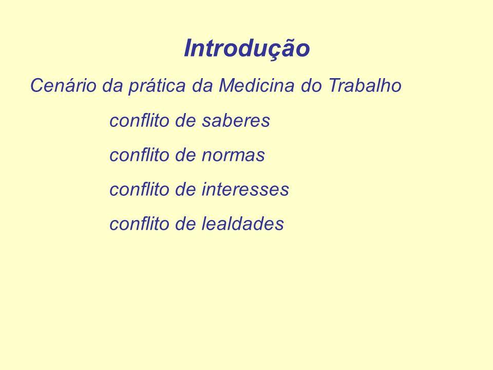 Introdução Cenário da prática da Medicina do Trabalho conflito de saberes conflito de normas conflito de interesses conflito de lealdades