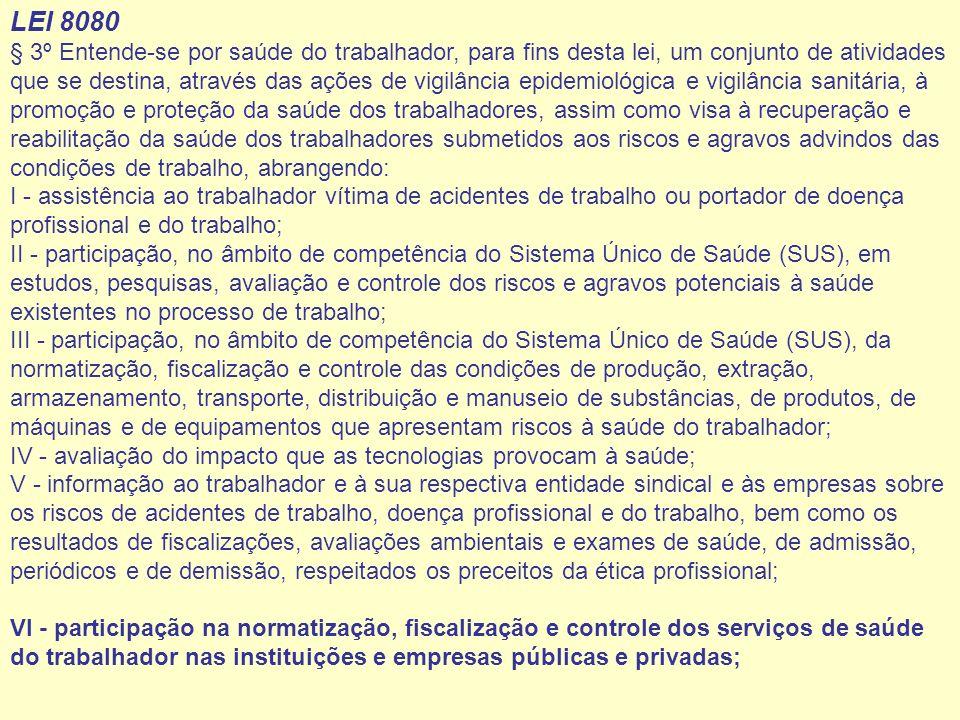 LEI 8080 § 3º Entende-se por saúde do trabalhador, para fins desta lei, um conjunto de atividades que se destina, através das ações de vigilância epid