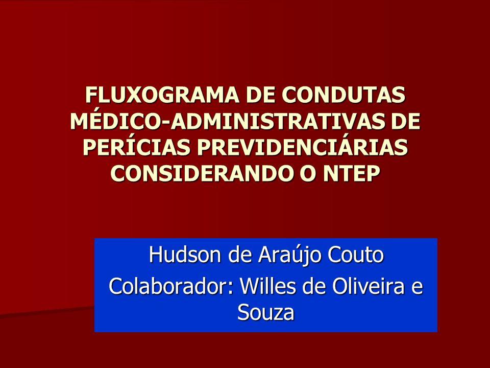 FLUXOGRAMA DE CONDUTAS MÉDICO-ADMINISTRATIVAS DE PERÍCIAS PREVIDENCIÁRIAS CONSIDERANDO O NTEP Hudson de Araújo Couto Colaborador: Willes de Oliveira e