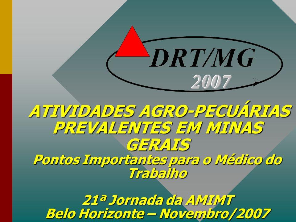 ATIVIDADES AGRO-PECUÁRIAS PREVALENTES EM MINAS GERAIS Pontos Importantes para o Médico do Trabalho 21ª Jornada da AMIMT Belo Horizonte – Novembro/2007