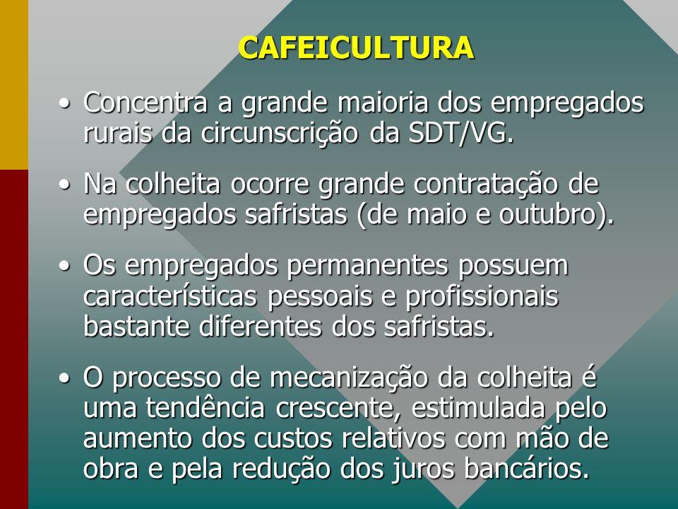 CAFEICULTURA Concentra a grande maioria dos empregados rurais da circunscrição da SDT/VG.Concentra a grande maioria dos empregados rurais da circunscr