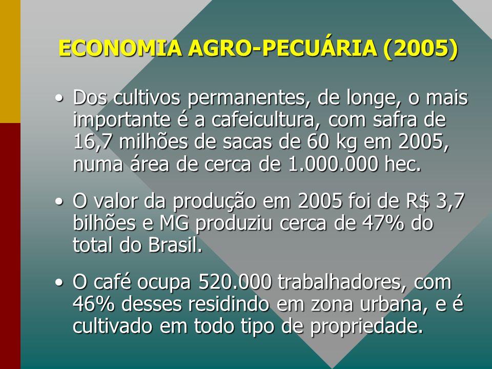 ECONOMIA AGRO-PECUÁRIA (2005) Dos cultivos permanentes, de longe, o mais importante é a cafeicultura, com safra de 16,7 milhões de sacas de 60 kg em 2