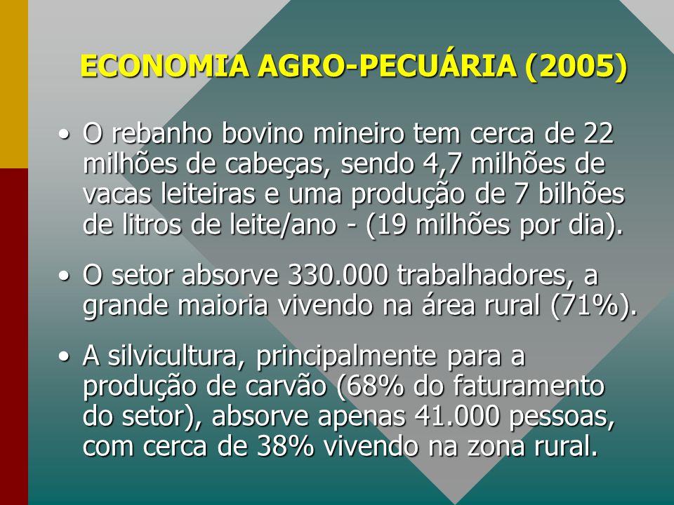 ECONOMIA AGRO-PECUÁRIA (2005) O rebanho bovino mineiro tem cerca de 22 milhões de cabeças, sendo 4,7 milhões de vacas leiteiras e uma produção de 7 bi