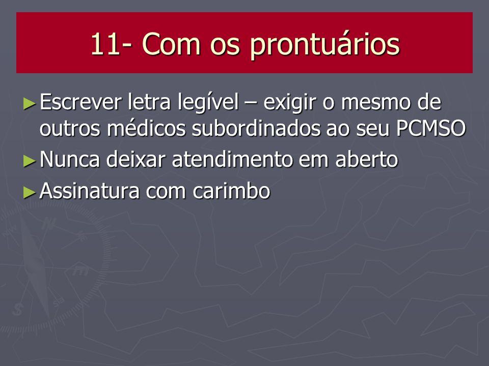 11- Com os prontuários Escrever letra legível – exigir o mesmo de outros médicos subordinados ao seu PCMSO Escrever letra legível – exigir o mesmo de