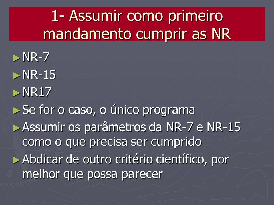 1- Assumir como primeiro mandamento cumprir as NR NR-7 NR-7 NR-15 NR-15 NR17 NR17 Se for o caso, o único programa Se for o caso, o único programa Assu