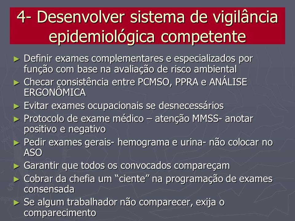 4- Desenvolver sistema de vigilância epidemiológica competente Definir exames complementares e especializados por função com base na avaliação de risc