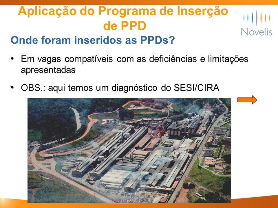 Aplicação do Programa de Inserção de PPD Onde foram inseridos as PPDs? Em vagas compatíveis com as deficiências e limitações apresentadas OBS.: aqui t
