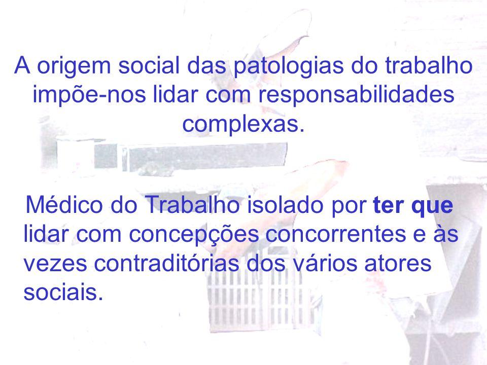 A origem social das patologias do trabalho impõe-nos lidar com responsabilidades complexas. Médico do Trabalho isolado por ter que lidar com concepçõe