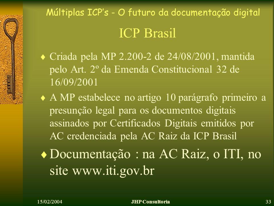 Múltiplas ICPs - O futuro da documentação digital 15/02/2004JHP Consultoria33 ICP Brasil Criada pela MP 2.200-2 de 24/08/2001, mantida pelo Art. 2º da