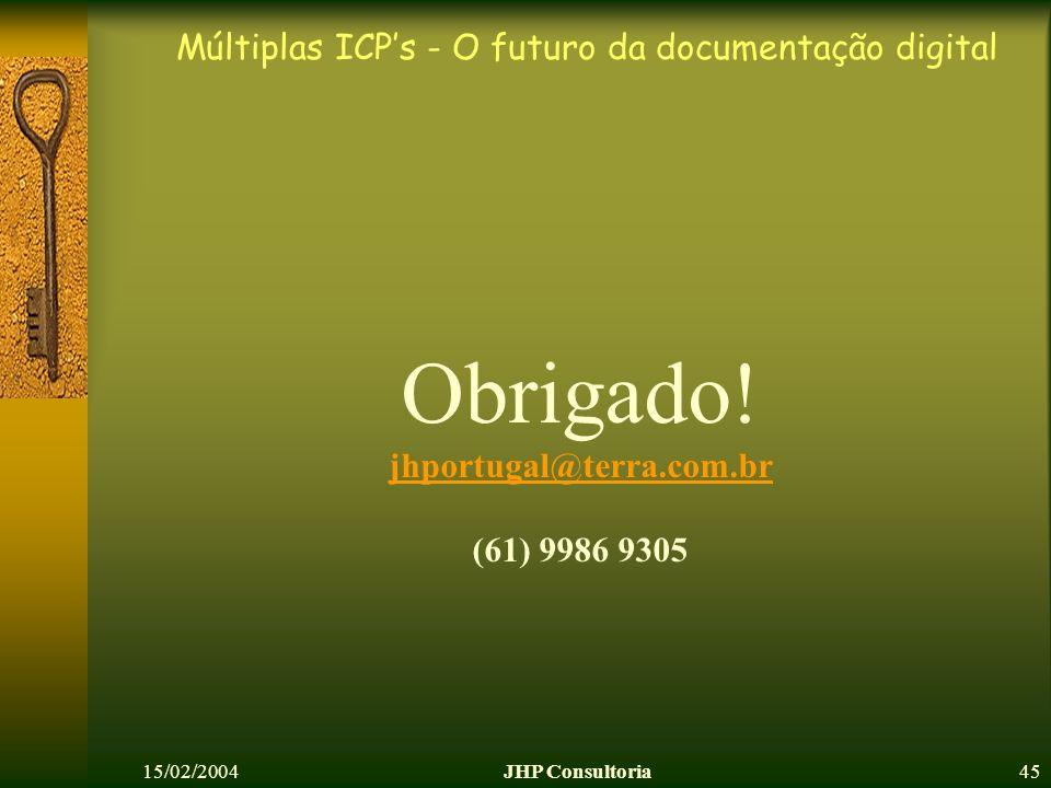 Múltiplas ICPs - O futuro da documentação digital 15/02/2004JHP Consultoria45 Obrigado! jhportugal@terra.com.br (61) 9986 9305