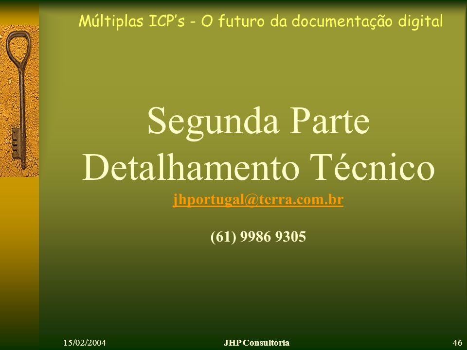 Múltiplas ICPs - O futuro da documentação digital 15/02/2004JHP Consultoria46 Segunda Parte Detalhamento Técnico jhportugal@terra.com.br (61) 9986 930