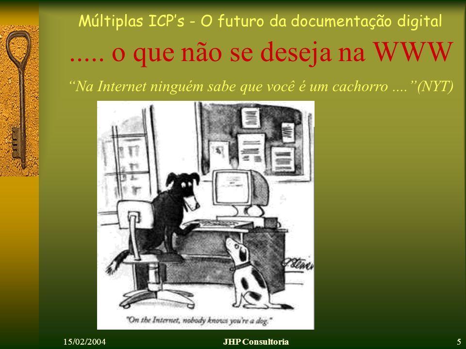 Múltiplas ICPs - O futuro da documentação digital 15/02/2004JHP Consultoria5..... o que não se deseja na WWW Na Internet ninguém sabe que você é um ca