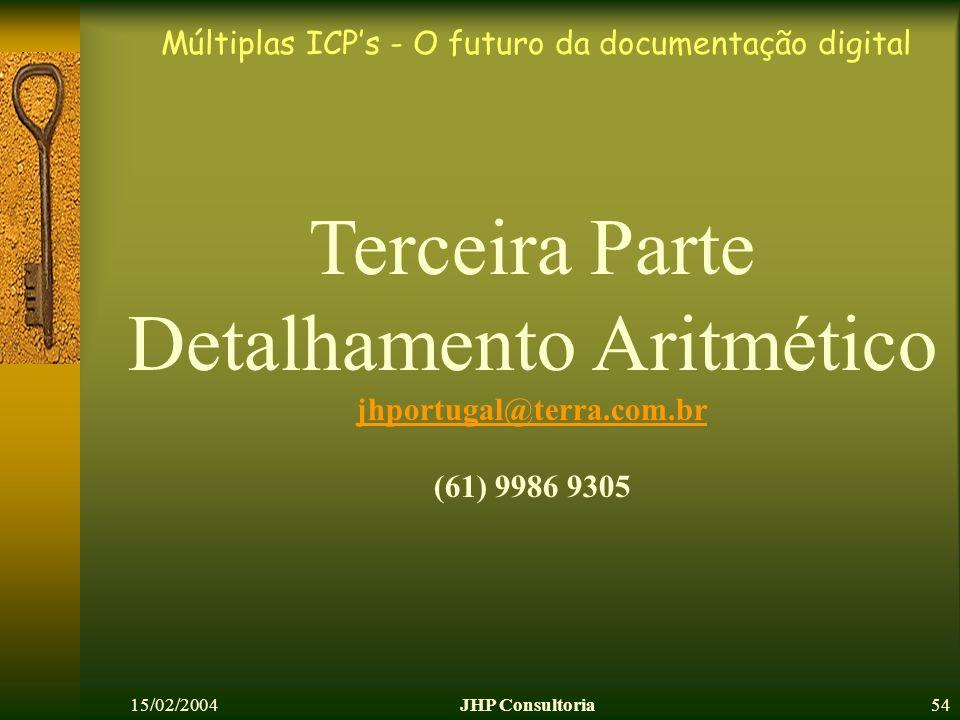 Múltiplas ICPs - O futuro da documentação digital 15/02/2004JHP Consultoria54 Terceira Parte Detalhamento Aritmético jhportugal@terra.com.br (61) 9986