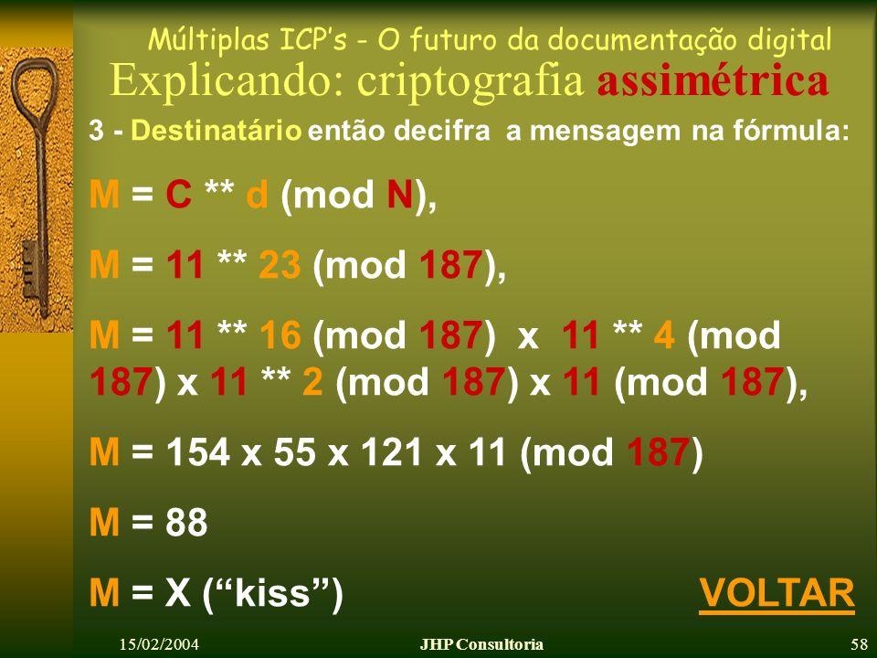 Múltiplas ICPs - O futuro da documentação digital 15/02/2004JHP Consultoria58 Explicando: criptografia assimétrica 3 - Destinatário então decifra a mensagem na fórmula: M = C ** d (mod N), M = 11 ** 23 (mod 187), M = 11 ** 16 (mod 187) x 11 ** 4 (mod 187) x 11 ** 2 (mod 187) x 11 (mod 187), M = 154 x 55 x 121 x 11 (mod 187) M = 88 M = X (kiss) VOLTARVOLTAR