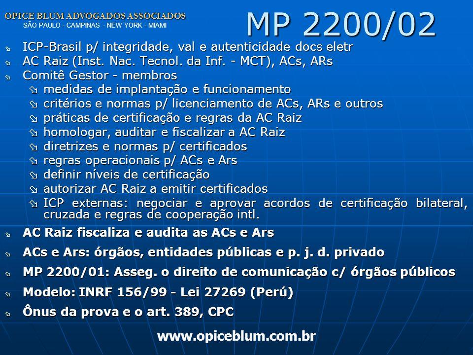 OPICE BLUM ADVOGADOS ASSOCIADOS OPICE BLUM ADVOGADOS ASSOCIADOS SÃO PAULO - CAMPINAS - NEW YORK - MIAMI www.opiceblum.com.brECA