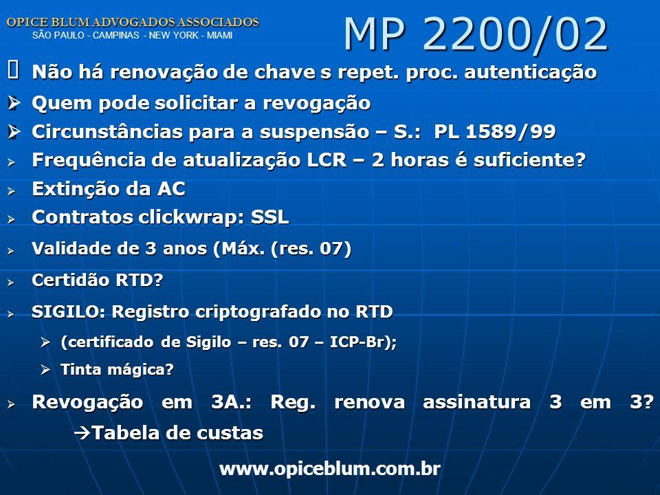 OPICE BLUM ADVOGADOS ASSOCIADOS OPICE BLUM ADVOGADOS ASSOCIADOS SÃO PAULO - CAMPINAS - NEW YORK - MIAMI www.opiceblum.com.br MP 2200/02 Princípio da r