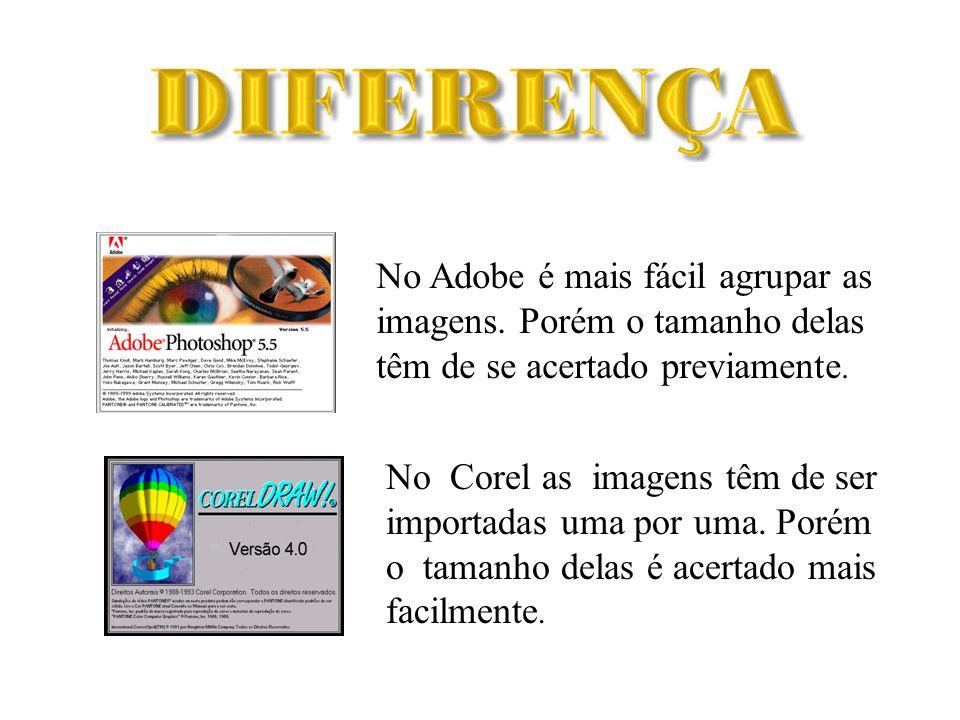 No Adobe é mais fácil agrupar as imagens.Porém o tamanho delas têm de se acertado previamente.