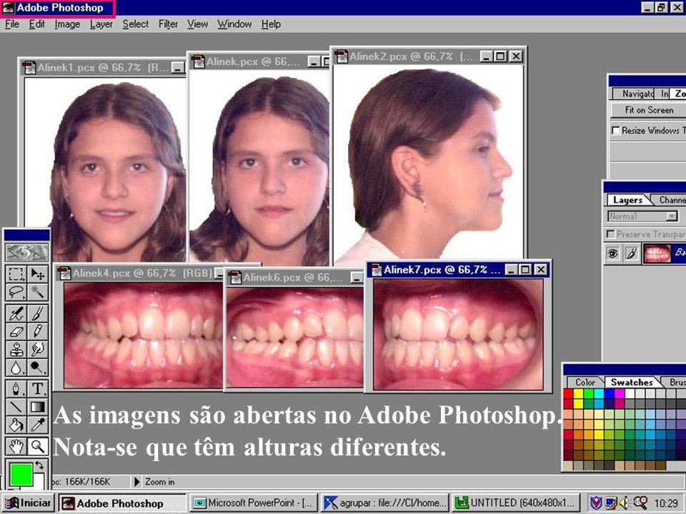 As imagens são abertas no Adobe Photoshop. Nota-se que têm alturas diferentes.