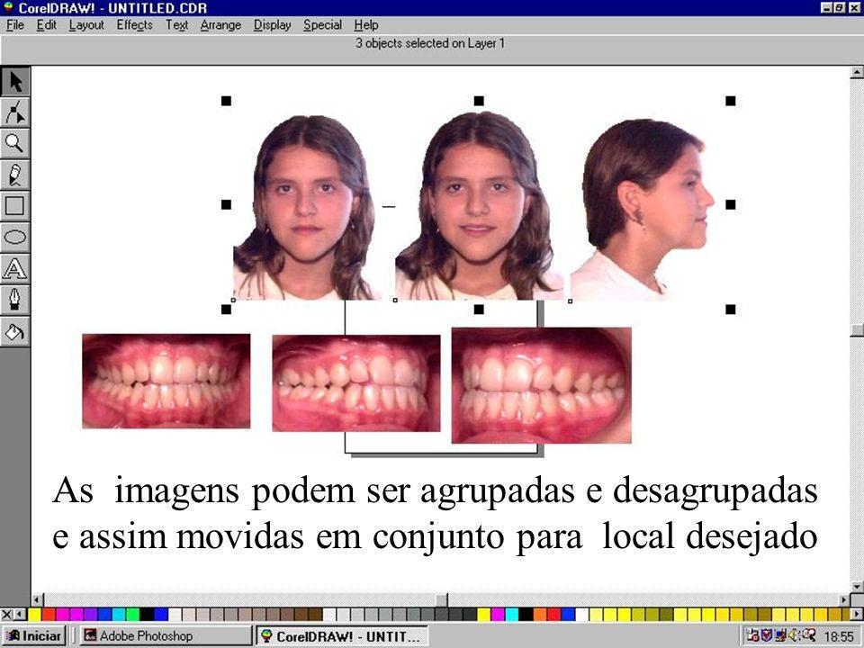 As três imagens superiores foram modificadas para o mesmo tamanho e colocadas em suas posições.