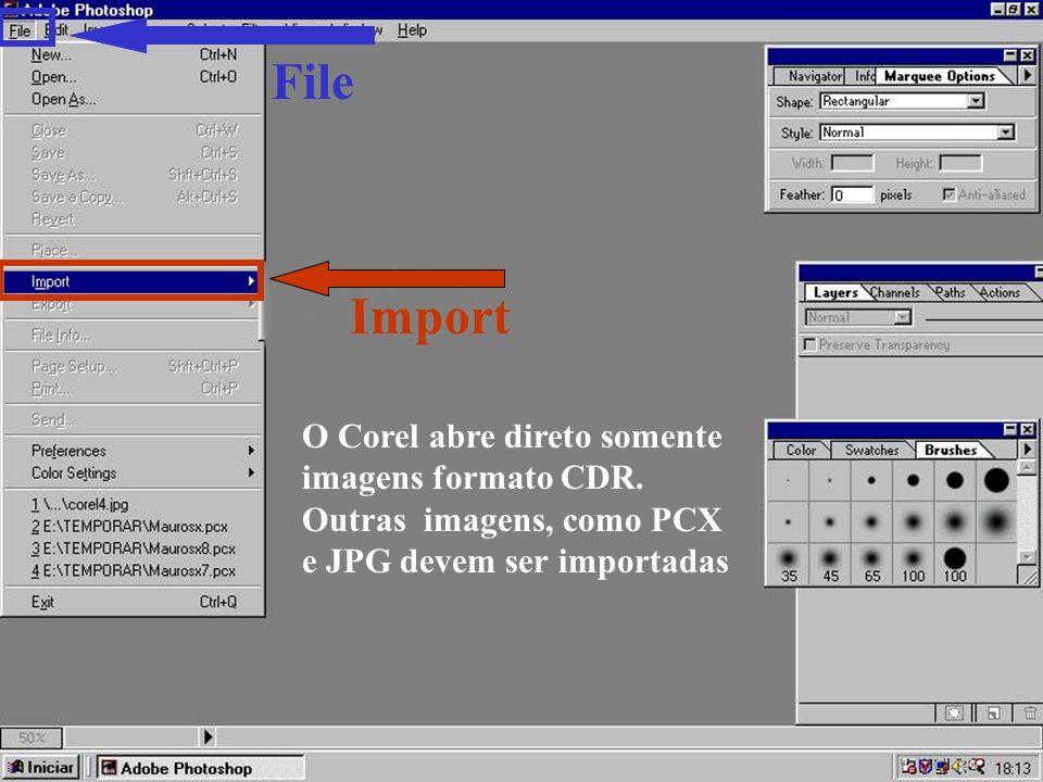 Import File O Corel abre direto somente imagens formato CDR.