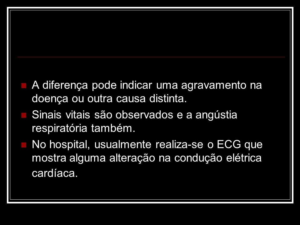 A diferença pode indicar uma agravamento na doença ou outra causa distinta. Sinais vitais são observados e a angústia respiratória também. No hospital