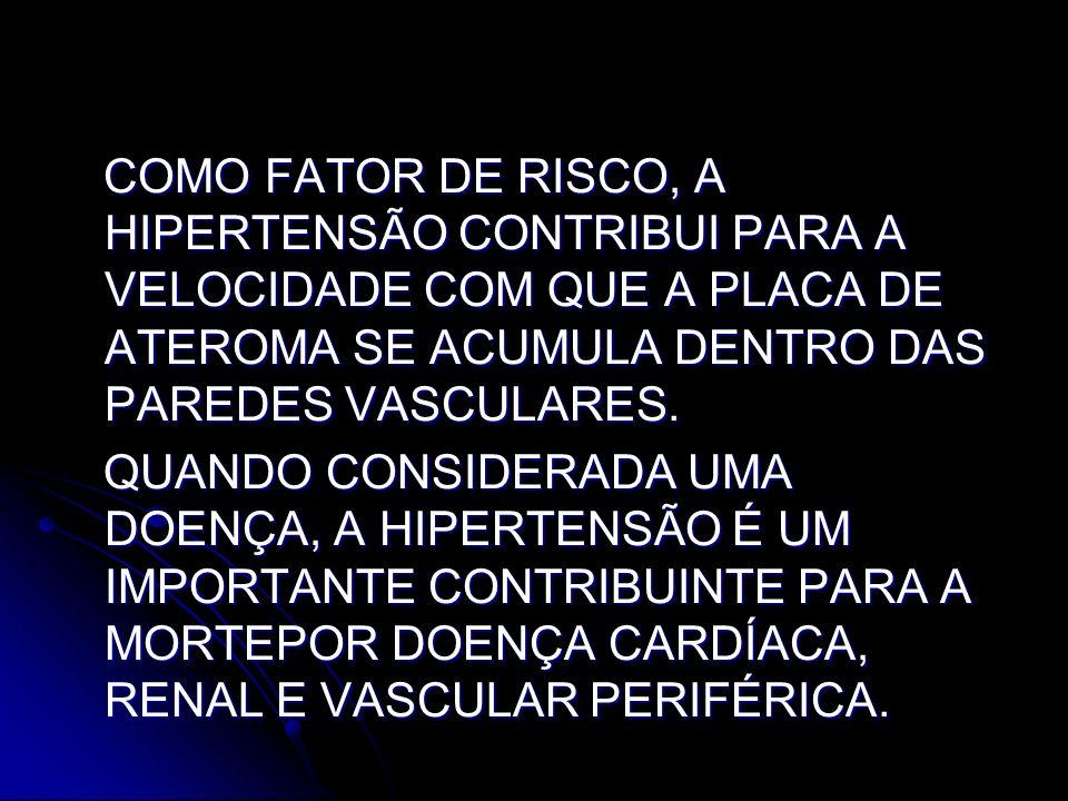 COMO FATOR DE RISCO, A HIPERTENSÃO CONTRIBUI PARA A VELOCIDADE COM QUE A PLACA DE ATEROMA SE ACUMULA DENTRO DAS PAREDES VASCULARES. COMO FATOR DE RISC