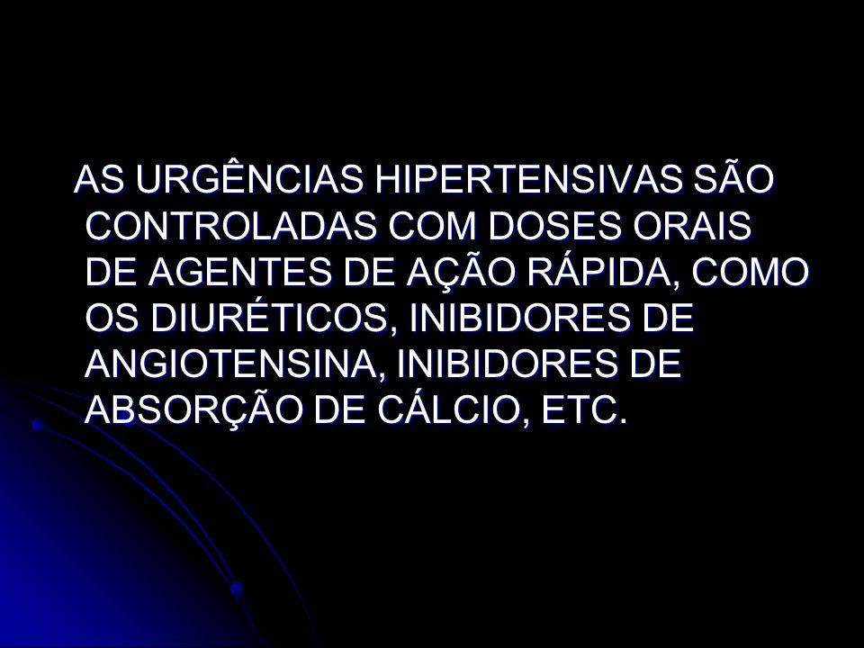 AS URGÊNCIAS HIPERTENSIVAS SÃO CONTROLADAS COM DOSES ORAIS DE AGENTES DE AÇÃO RÁPIDA, COMO OS DIURÉTICOS, INIBIDORES DE ANGIOTENSINA, INIBIDORES DE AB