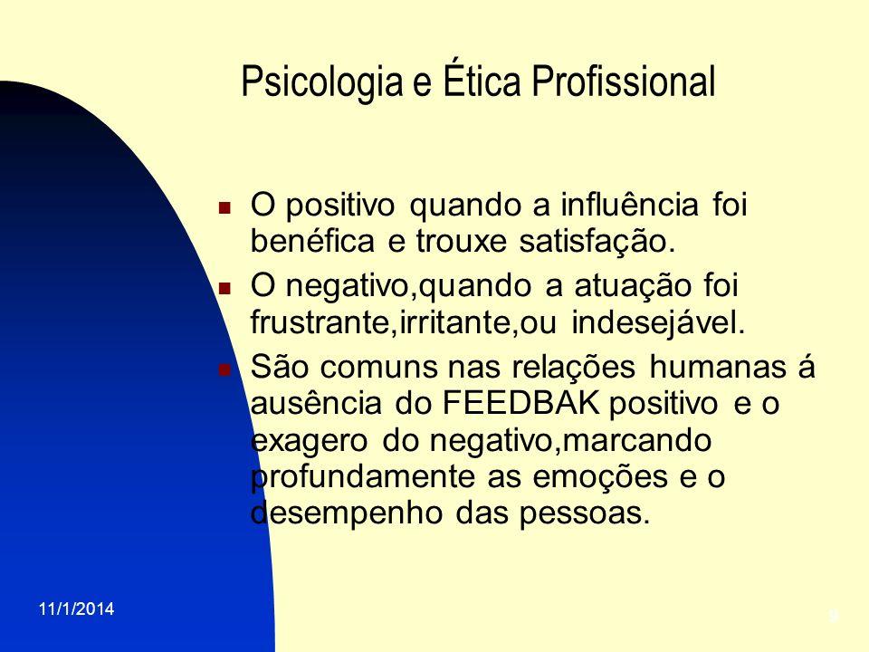 11/1/2014 9 Psicologia e Ética Profissional O positivo quando a influência foi benéfica e trouxe satisfação. O negativo,quando a atuação foi frustrant