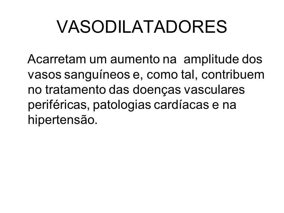 VASODILATADORES Acarretam um aumento na amplitude dos vasos sanguíneos e, como tal, contribuem no tratamento das doenças vasculares periféricas, patol