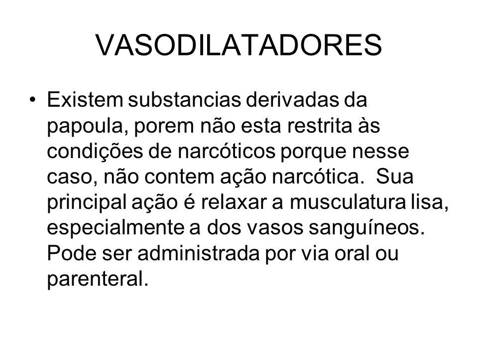 VASODILATADORES Existem substancias derivadas da papoula, porem não esta restrita às condições de narcóticos porque nesse caso, não contem ação narcót