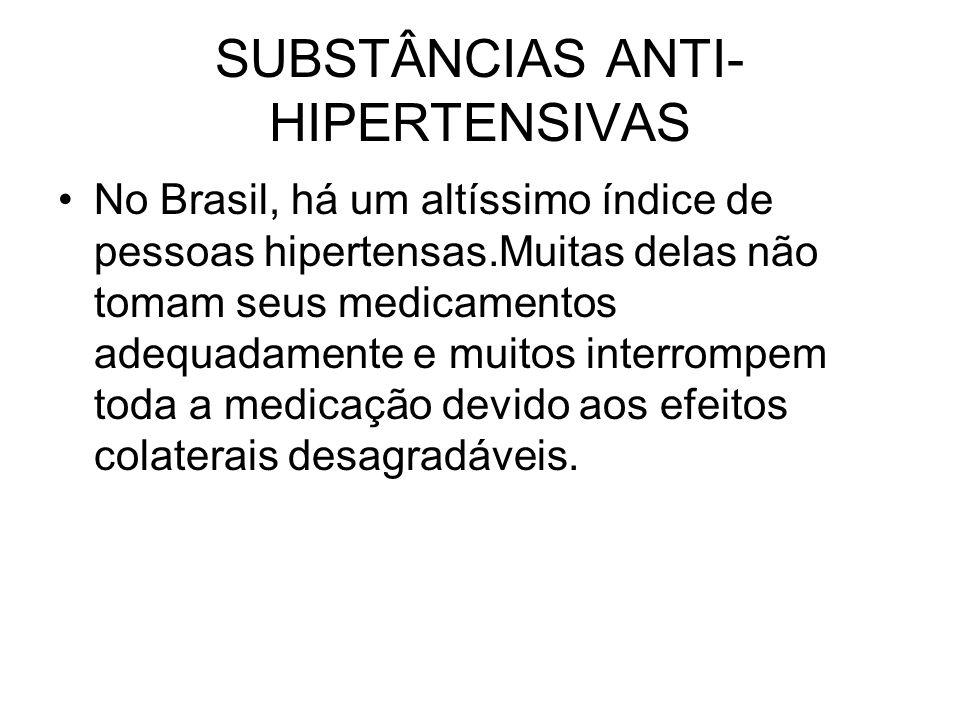 SUBSTÂNCIAS ANTI- HIPERTENSIVAS No Brasil, há um altíssimo índice de pessoas hipertensas.Muitas delas não tomam seus medicamentos adequadamente e muit