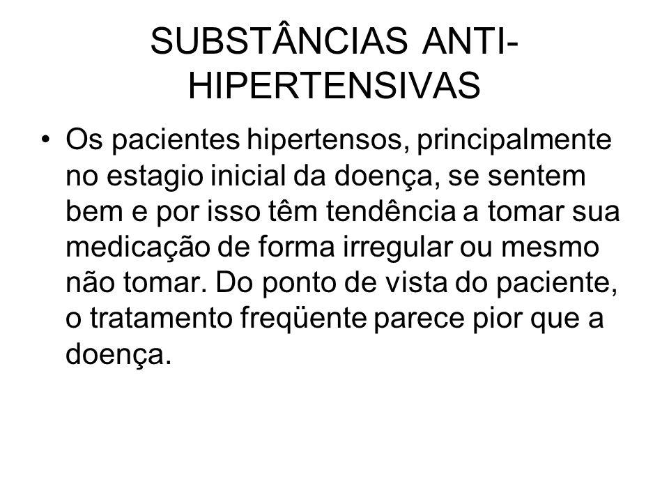 SUBSTÂNCIAS ANTI- HIPERTENSIVAS Os pacientes hipertensos, principalmente no estagio inicial da doença, se sentem bem e por isso têm tendência a tomar