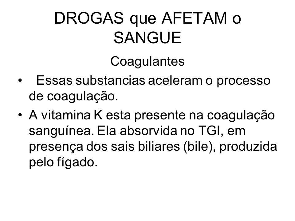 DROGAS que AFETAM o SANGUE Coagulantes Essas substancias aceleram o processo de coagulação. A vitamina K esta presente na coagulação sanguínea. Ela ab