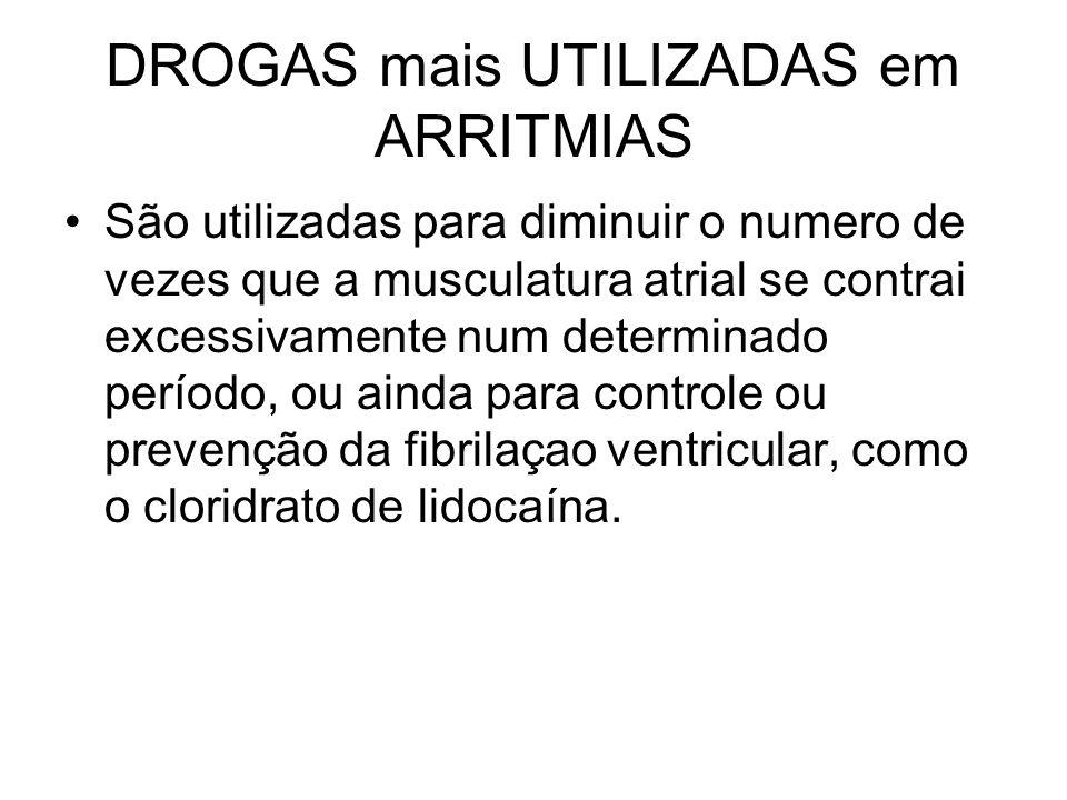 DROGAS mais UTILIZADAS em ARRITMIAS São utilizadas para diminuir o numero de vezes que a musculatura atrial se contrai excessivamente num determinado