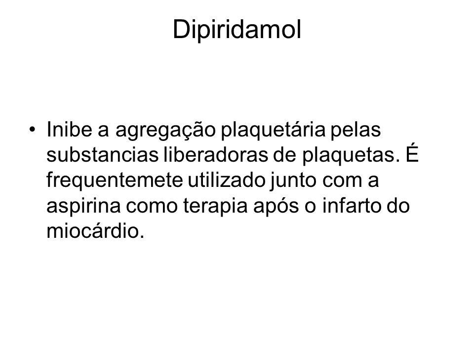 Dipiridamol Inibe a agregação plaquetária pelas substancias liberadoras de plaquetas. É frequentemete utilizado junto com a aspirina como terapia após